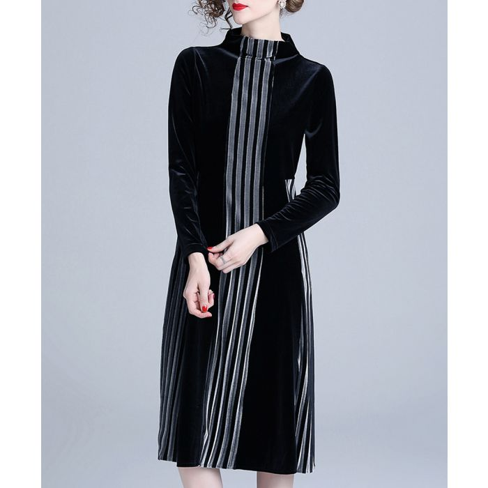 Image for Black silk blend stripe detail dress