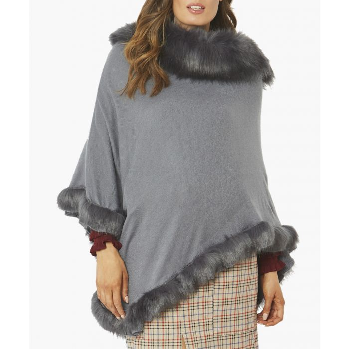 Image for Grey wool blend faux fur trim poncho