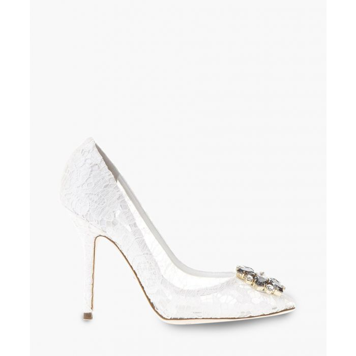 Image for Bellucci white lace and swarovski crystal pumps