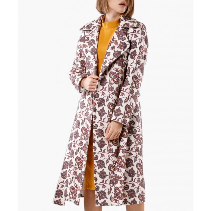 Image for Multicolour wool-cashmere blend belted coat
