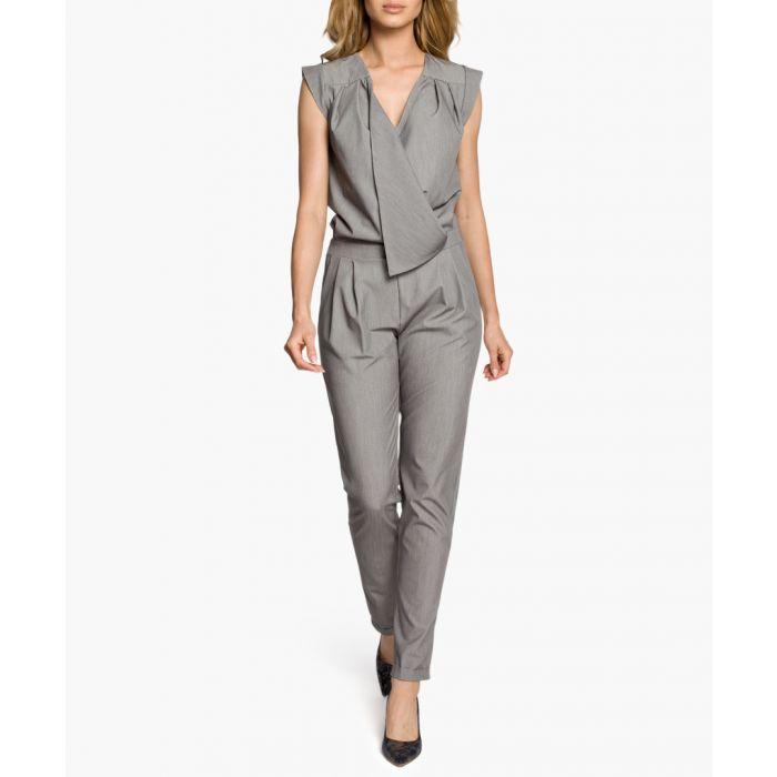 Image for Grey wrap drape jumpsuit