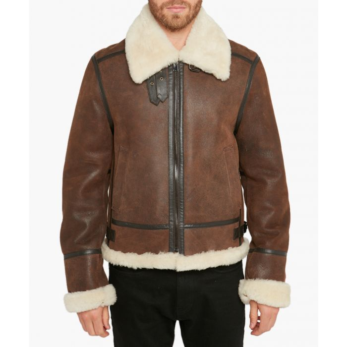 Image for Bombardier brown shearling jacket