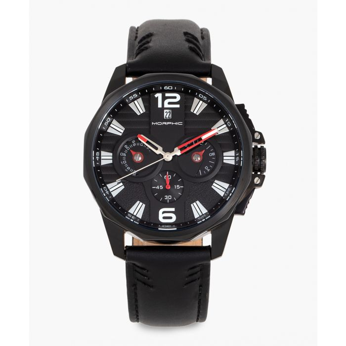 Image for M82 Series leather and stainless steel chronograph watch