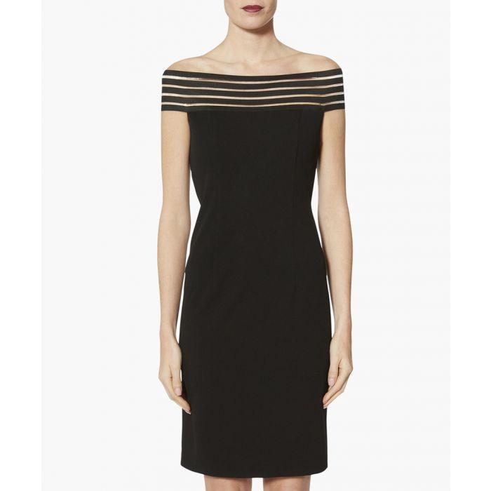 Image for Black lara off the shoulder crepe dress
