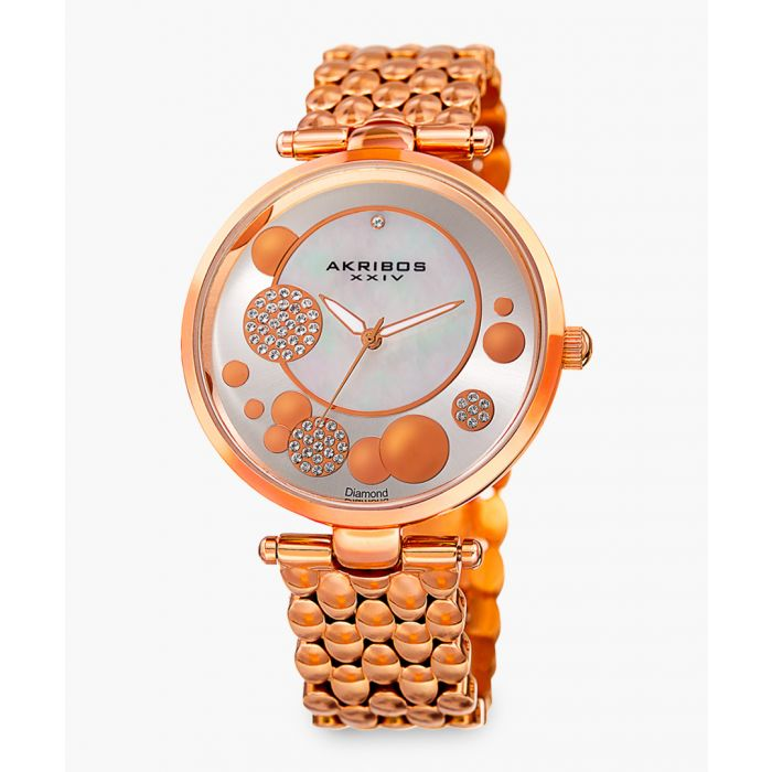 Image for Rose gold-tone bubble-mesh strap watch