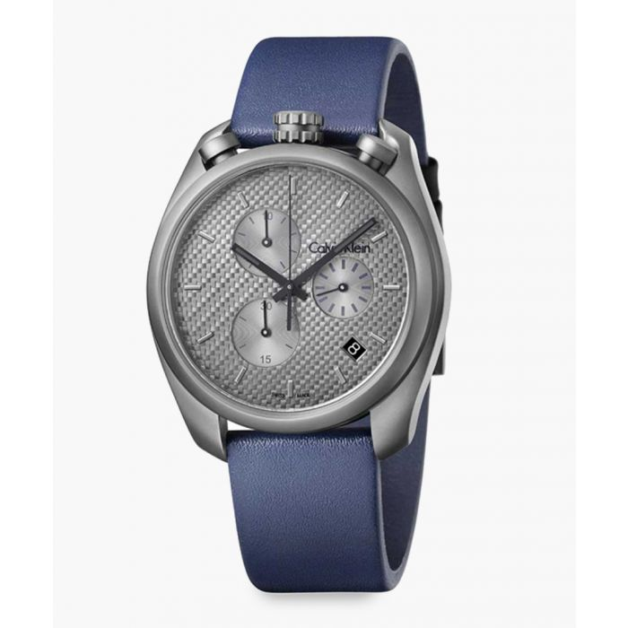 Image for Blue leather grey dial watch