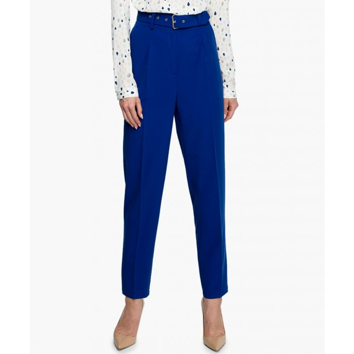 Image for Blue belted straight trousers