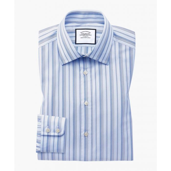 Image for Sky blue Egyptian cotton slim fit striped shirt