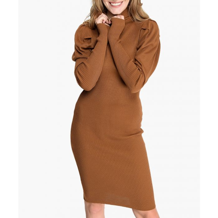 Image for Brown cotton blend dress