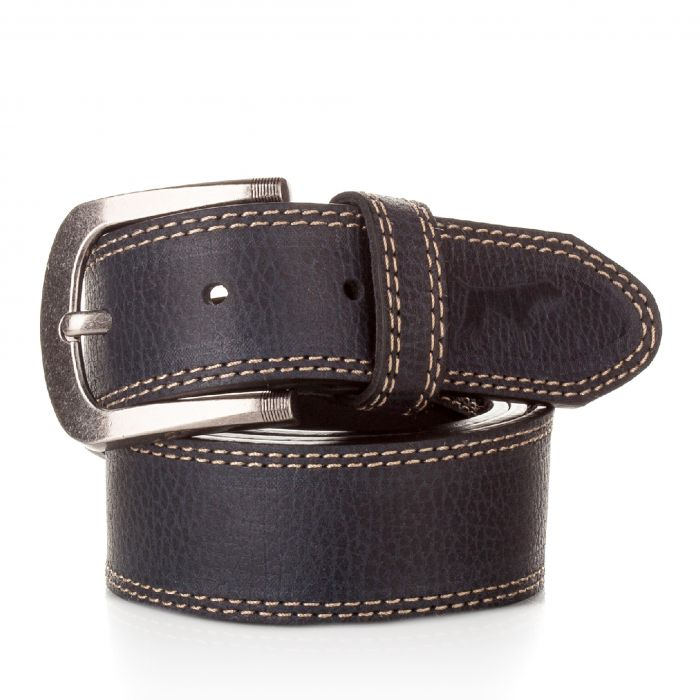 Image for Mens navy leather belt