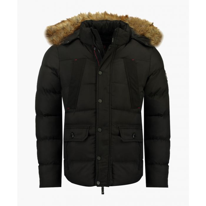 Image for Black quilted removable hood doudoune