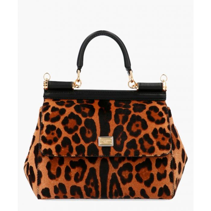 Image for Sicily multi-coloured leather leopard print small tote