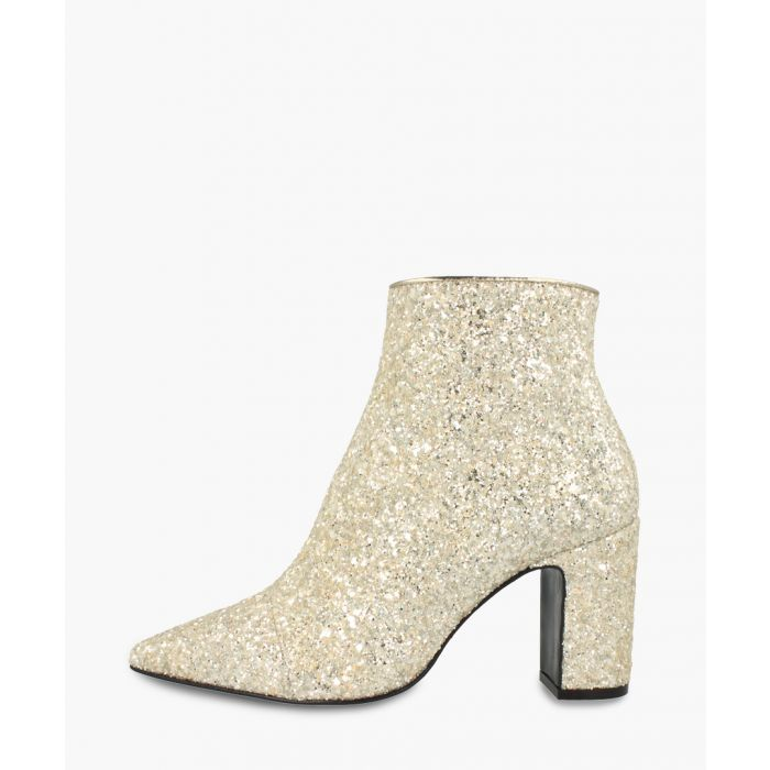 Image for Beige leather glittered ankle boots