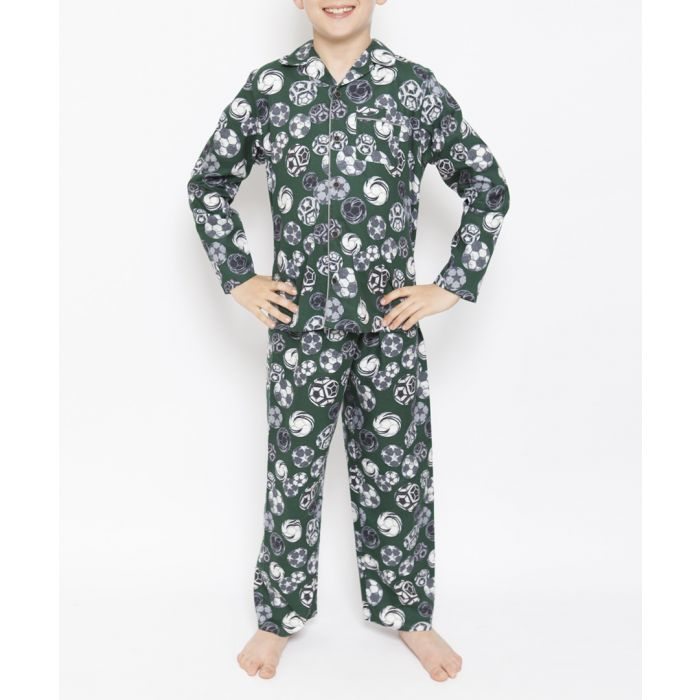 Image for 2pc Alfie green football printed pyjamas