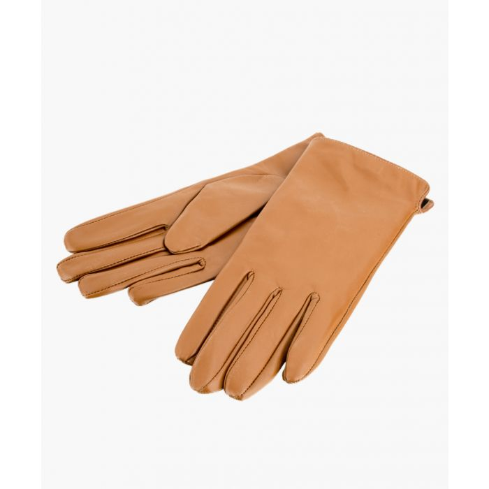 Image for Tan Side Slit Leather Gloves
