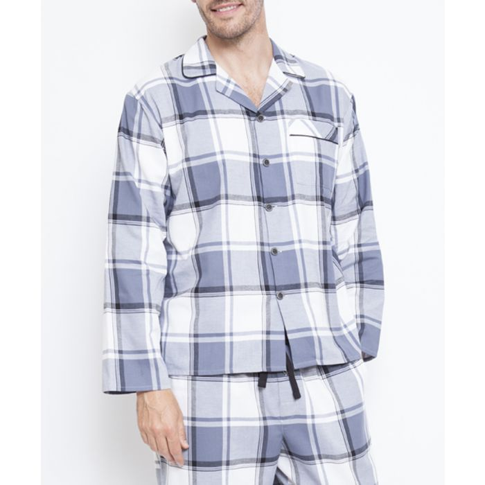 Image for Aspen grey cotton  checked pyjama top