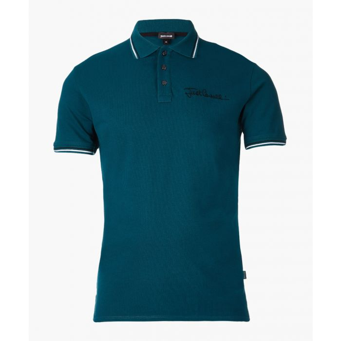 Image for Green embroidered logo polo shirt