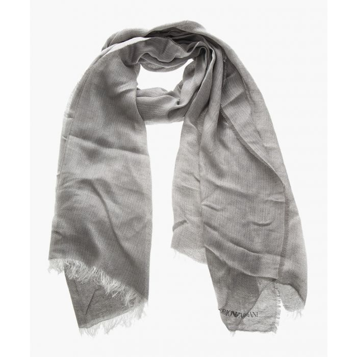 Image for Grey linen and modal logo stole