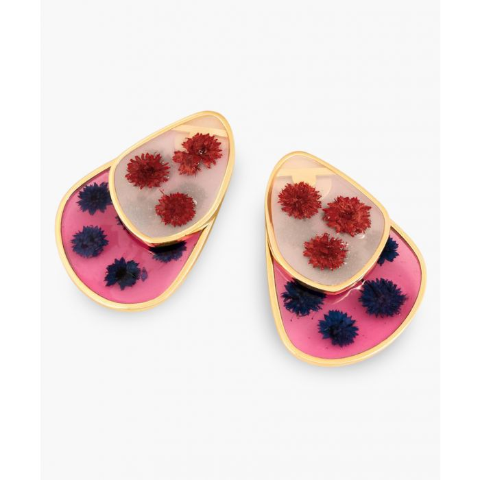 Image for Red and blue medium petal earrings