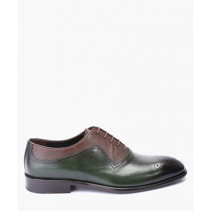 Image for Green and brown leather oxford shoes