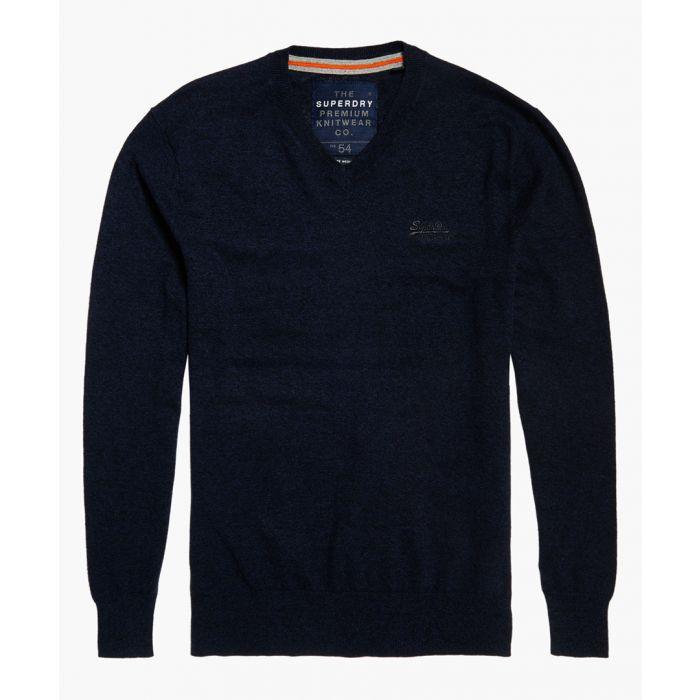 Image for Orange Label navy cotton blend V-neck top