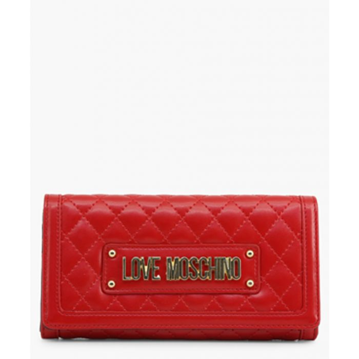Image for Red faux-leather clutch