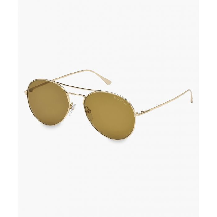 Image for gold-tone rounded pilot sunglasses