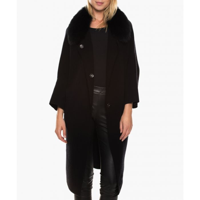 Image for Prila black merino wool & cashmere cropped sleeve jacket