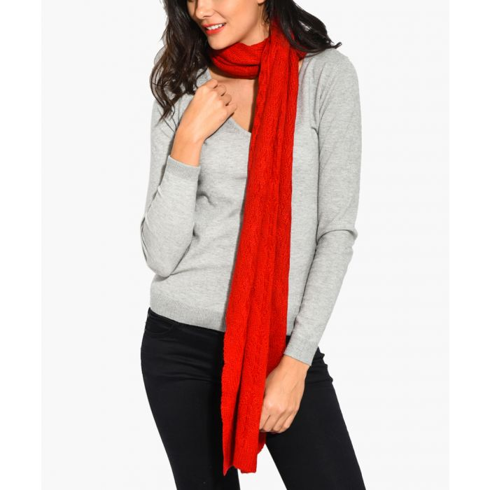 Image for Red cashmere and mohair blend scarf