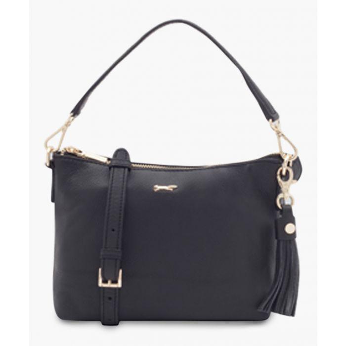 Image for Mestolo black leather shopper