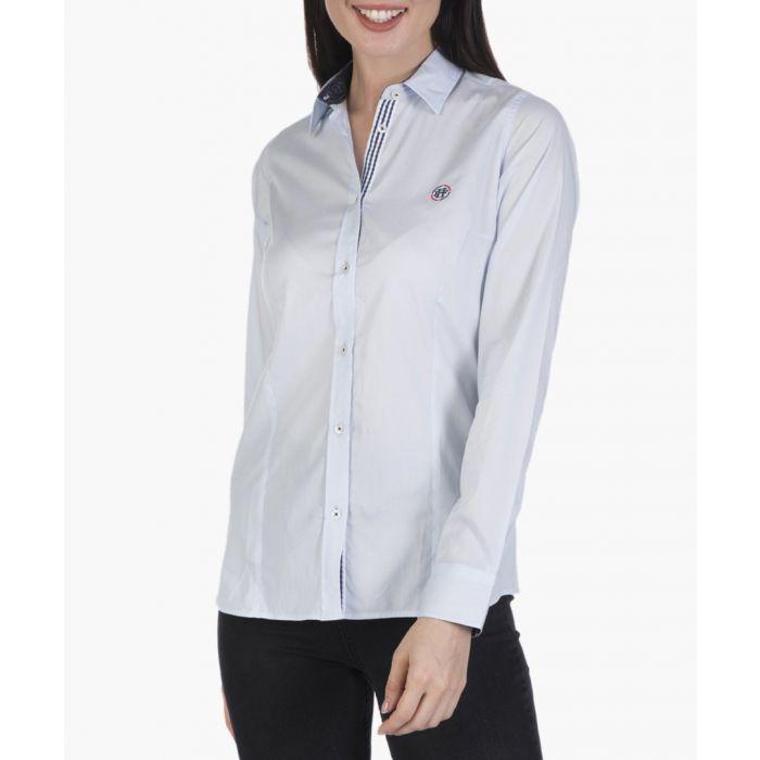 Image for Blue stretch cotton shirt