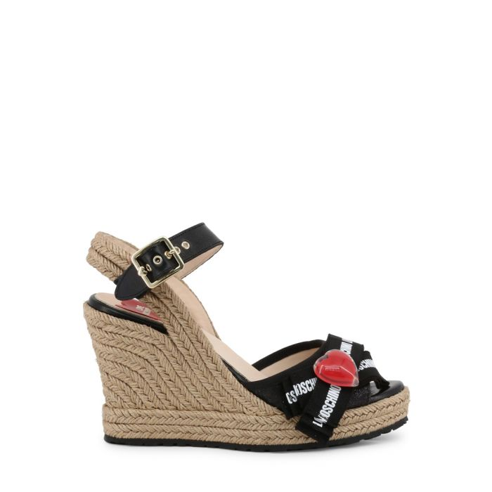 Image for black heart cutaway wedge sandals