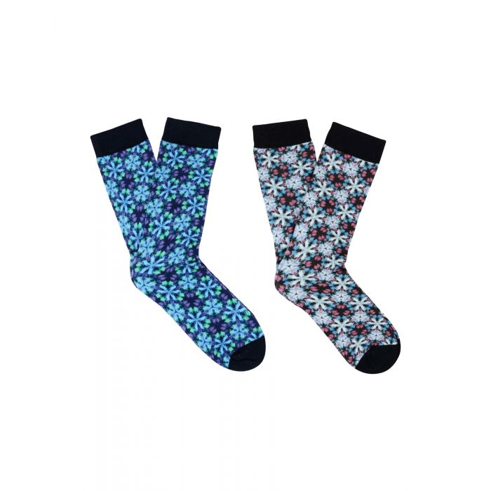Image for 2pc multi-coloured cotton printed socks