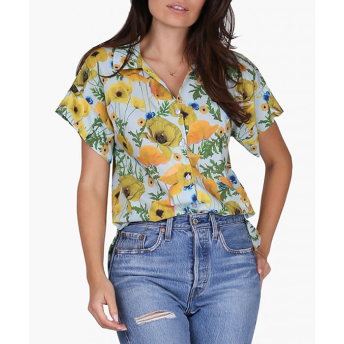 Image for Yellow and poppies woven blouse