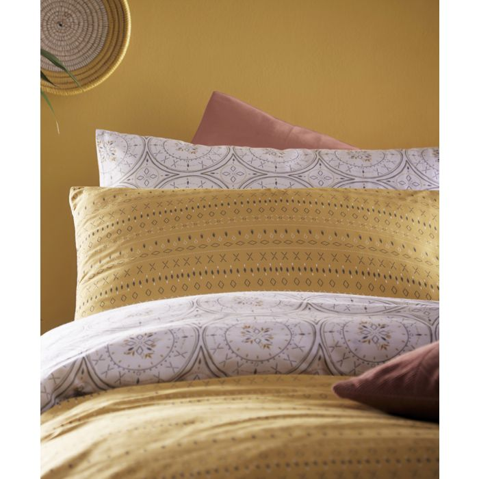 Image for Mandala grey and ochre cotton king duvet cover set