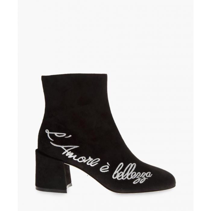 Image for Black suede embroidered ankle boots