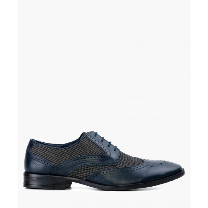 Image for Navy blue leather Derby shoes