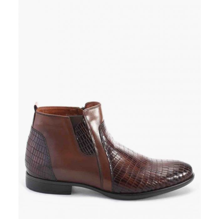 Image for Tan leather moc-croc textured panel ankle boots