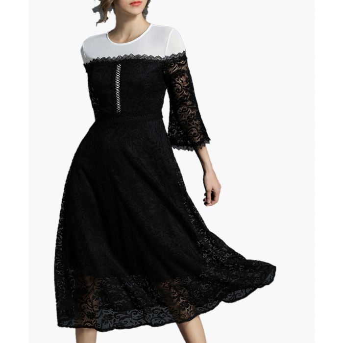 Image for Black and white contrast lace dress