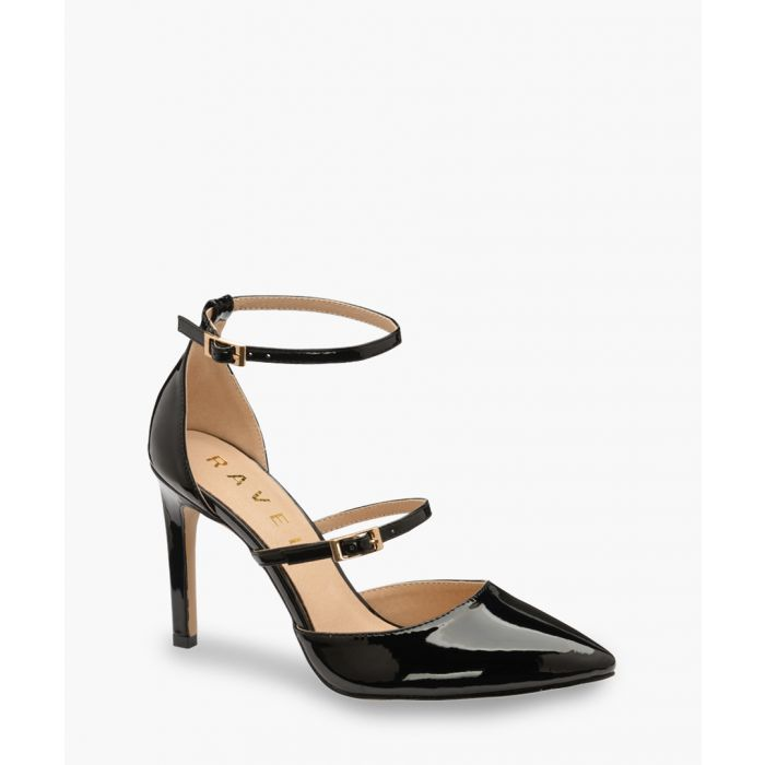 Image for Black patent double strap heels