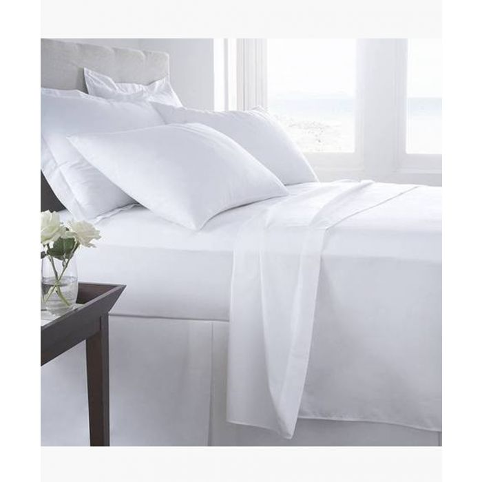 Image for Luxury white 200 thread count double fitted sheet