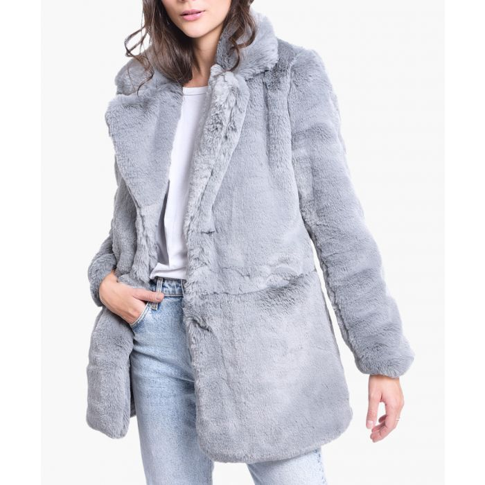 Image for Grey faux fur short coat