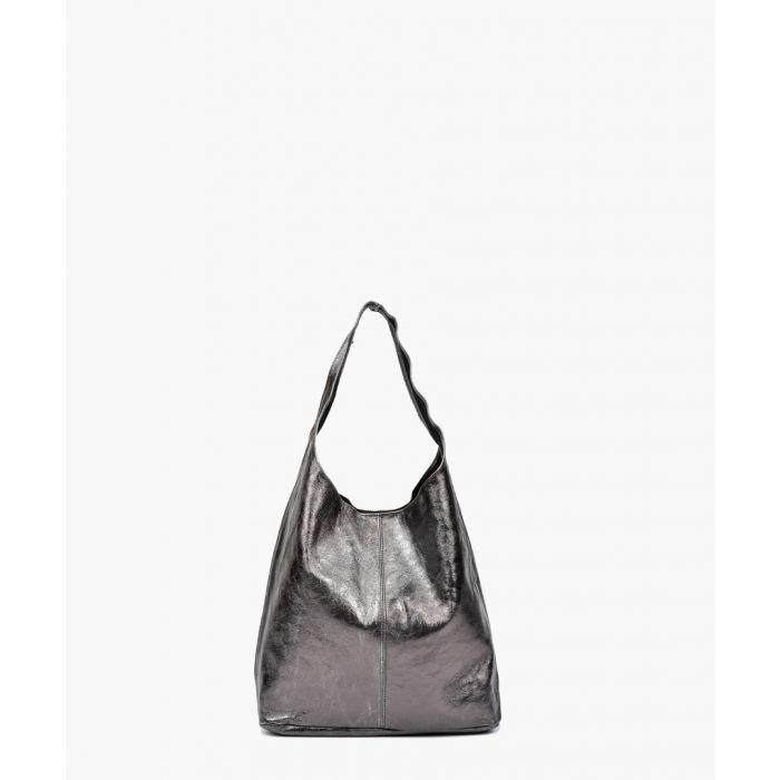 Image for Grey metallic leather hobo bag