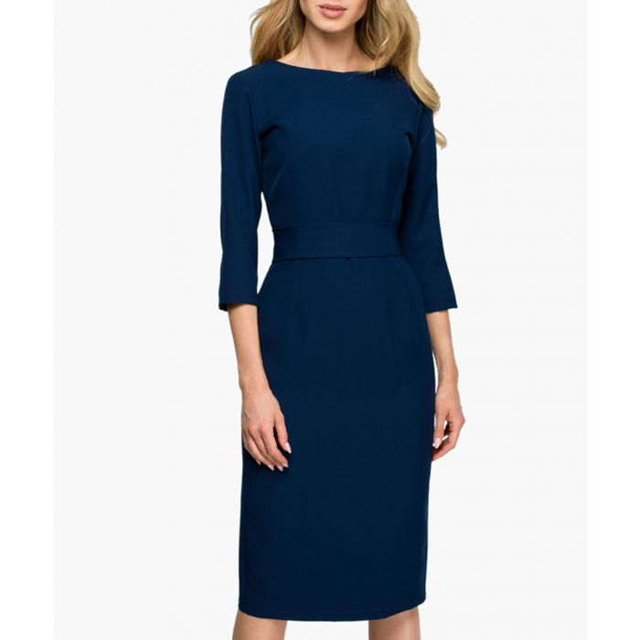 Image for Navy blue v-back buttoned fitted dress