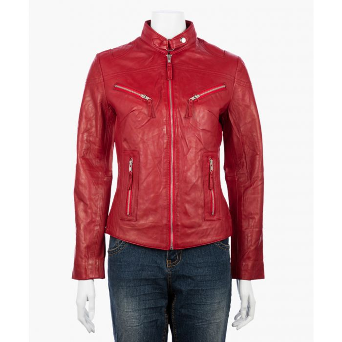 Image for Womens classic red biker jacket