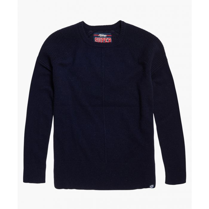 Image for Bria navy blue wool blend raglan knit jumper