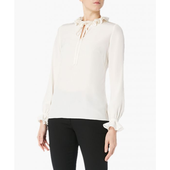 Image for Irving white pure silk frill top