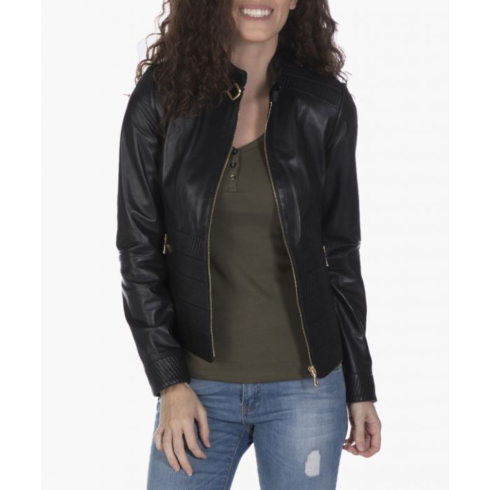 Image for Black leather zipped jacket