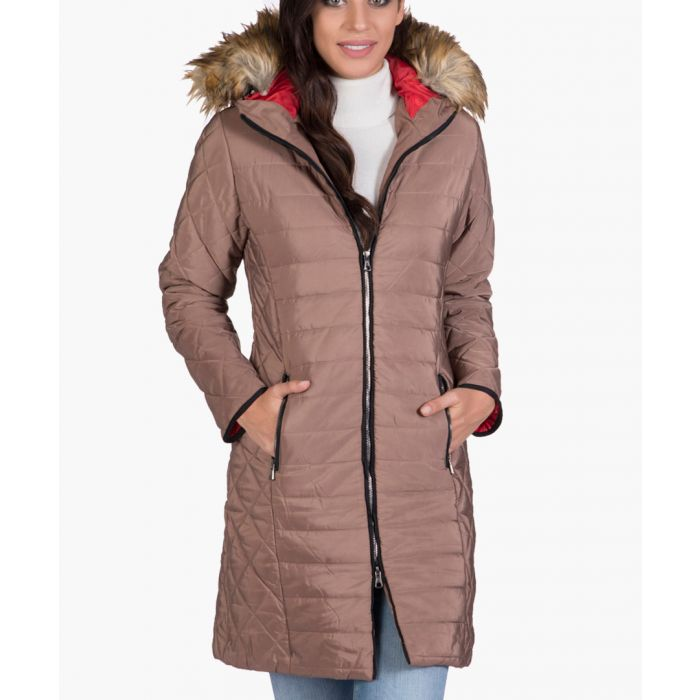 Image for Brown faux fur hooded quilted coat