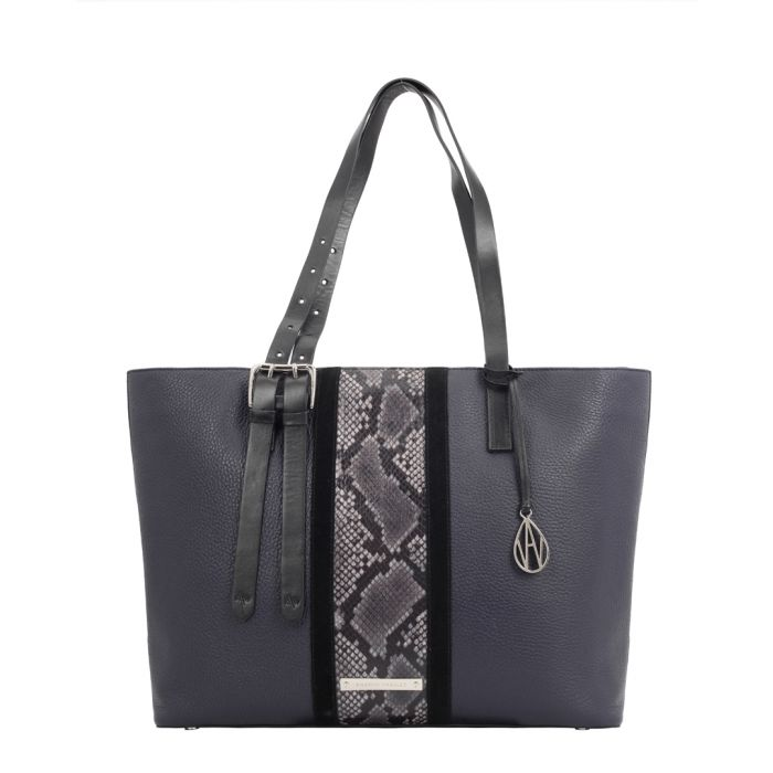Image for The Stripe Dean midnight leather shopper